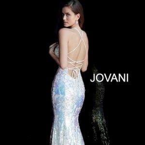 Jovani Cream Iridescent Sequin Prom Evening Gown